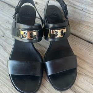 Tory Burch black strappy high heeled sandals 8.5